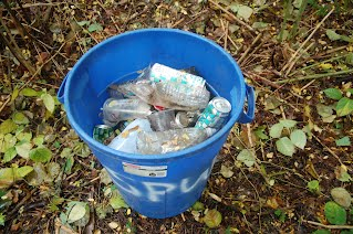 recyling picked up on trail