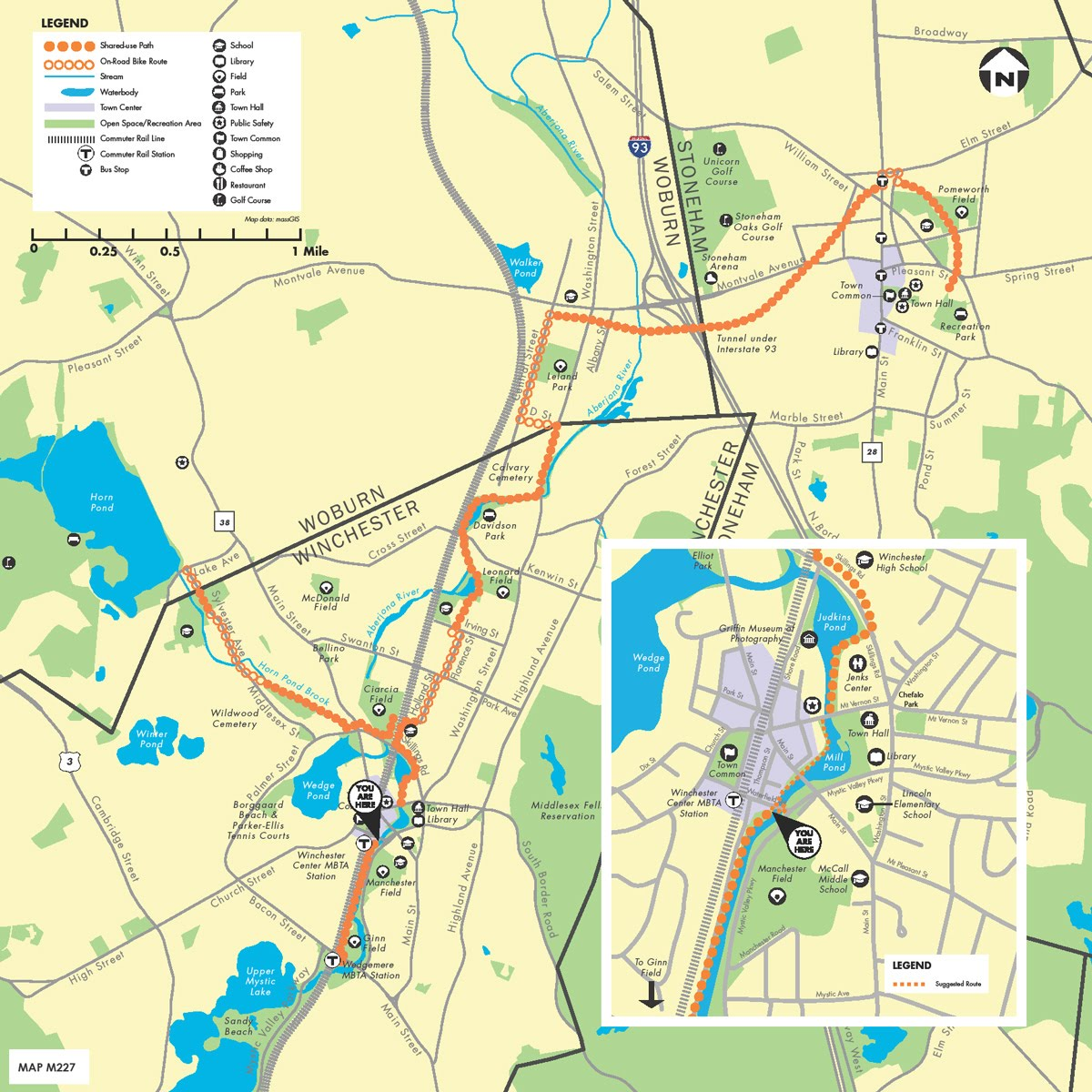 Map of Tri-Community Greenway - Winchester, Woburn, Stoneham